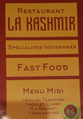Menu La Kashmir - Menu à la carte