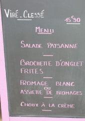 Menu Le Matisa - Exemple de menu