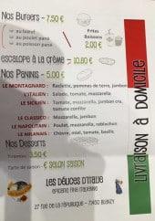 Menu Les Délices d'Italie - Burgers, paninis et desserts