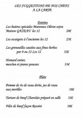Menu Chateau de la Barge - Les suggestions du chef
