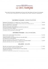 Menu Le Café Français - Les entrées et salades