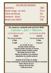 Menu Aux Cocottes Sarthoises - Le vin du moment