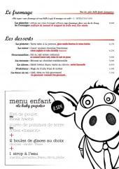 Menu Popote & Papilles - le fromage, les desserts et le menu enfant