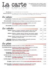 Menu Popote & Papilles - les entrées, salades et plats