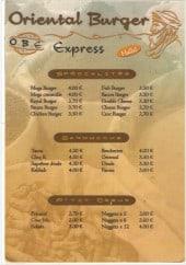 Menu Oriental Burger Express - Les Spécialités, Sandwichs et Ptit creux