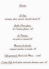 Menu Ailleurs resto - Les desserts, fromages, glaces,...