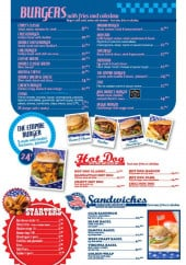 Menu Emily's - Les burgers, les hot dogs,......