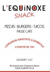 Menu L'équinoxe snack - Carte et menu L'équinoxe snack Albertville
