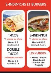 Menu L'équinoxe snack - Sandwichs et tacos