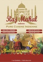 Menu Raj Mahal - Carte et menu Raj Mahal Albertville