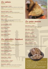 Menu Raj Mahal - Entrées, spécialités tandoori et pain maison