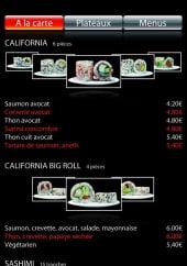 Menu Bingo Sushi - Les california et sashimi