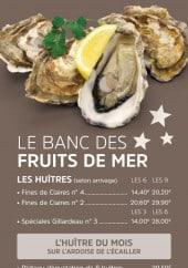 Menu Brasserie des Européens - Le banc des fruits de mer