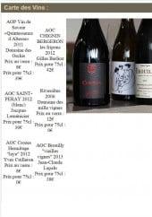 Menu L' esquisse - Les vins