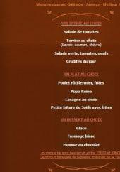 Menu La Galéjade - Les menus