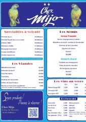 Menu Chez Mijo - Spécialités , viandes, menus,...