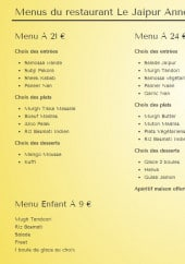 Menu Le Jaipur - Les menus