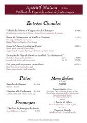 Menu Le Monchu - Entrées chaudes, pâtes, fromages, ...