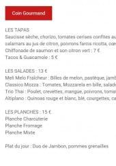 Menu Péniche le Marcounet - Les tapas, salades et planches