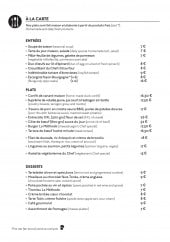 Menu La Méthode - Entrées, plats et desserts