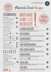 Menu Moutarde Street - Les entrées, salades...