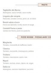 Menu Pizza Di Gio - Les pâtes et pizzas à base tomates