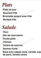 Menu Resto Fleg - Les plats et salade