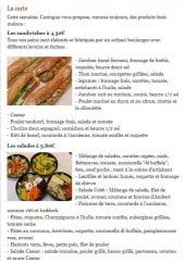 Menu Cazingue - sandwiches et salades