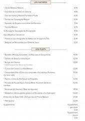 Menu La Terrasse Choron - Les entrées et les plats