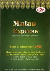 Menu Mulan Express - Carte et menu Mulan Express Paris 9