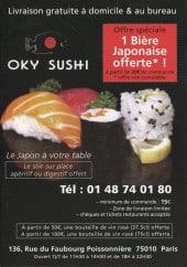 Menu Oky Sushi - Carte et menu de Oky Sushi à Paris 9