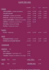 Menu Le Coin de table - Les vins, champagnes, boissons...