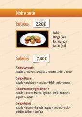 Menu African Croq'box - Entrées, salades et desserts
