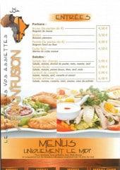 Menu Afrik'N'Fusion - Les entrées et menus