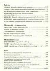 Menu Bistrot Beyrouth - Les salades, pâte a pain au four, beignets et plats