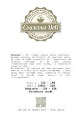 Menu Couscous Deli - carte et menu Couscous DeliParis 11
