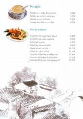 Menu Le Lotus Bleu - Les potages et fruits de mer