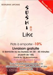 Menu Sushi Like - Carte et menu Sushi Like Paris 12