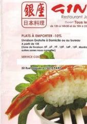 Menu Ginza - Carte et menu Ginza Paris 14