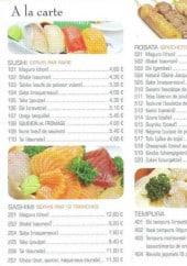 Menu Tokyo - Sushi, sashimi, robota et tempura