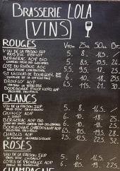 Menu Brasserie Lola - Les vins