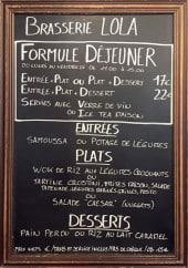 Menu Brasserie Lola - Un exemple de menu du jour