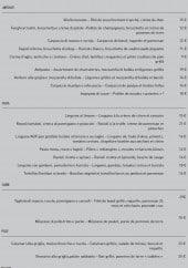 Menu Quindici - Les entrées, pâtes, viandes...