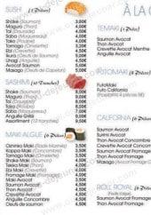 Menu Yoyo Sushi - Sushi, sashimi, maki, temaki, futomaki, california et roll royal