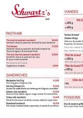Menu Schwartz's Deli - Sandwiches viandes et fritures