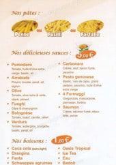 Menu Boom's Pasta - Les pâtes, la sauce, les boissons et desserts