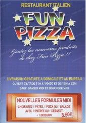 Menu Fun Pizza - Carte et menu Fun Pizza Paris 17
