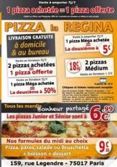 Menu Pizza La Regina - Carte et menu Pizza La Regina Paris 17