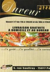 Menu Pizza Saveur - Carte et menu Pizza Saveur Paris 17