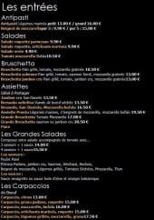 Menu Pronto italia - Les entrées